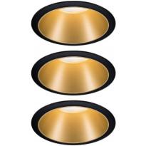 Alasvalosetti Paulmann Cole, Ø88mm, musta/kulta, Verkkokaupan poistotuote