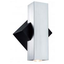 Seinävalaisin Special Flame LED 2x1W, musta/harjattu alumiini
