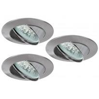 LED-alasvalosetti Paulmann Premium Line 3x1W Ø 83 mm 3 kpl harjattu teräs