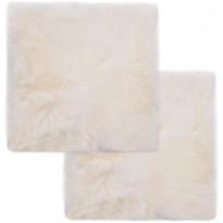 Tuolinpehmusteet 2 kpl valkoinen 40x40 cm aito lampaannahka