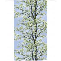 Sivuverho Vallila Omenapuu, 140x250cm, sininen/vihreä