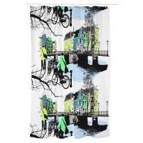 Suihkuverho Vallila Amsterdam, 180x200cm, vihreä/sininen