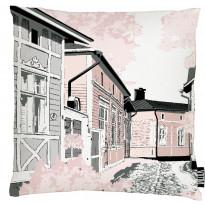 Koristetyynynpäällinen Vallila Rauma, 43x43cm, vaalea roosa