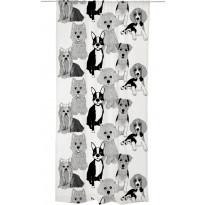 Sivuverho Vallila Doggies, 140x240cm, mustavalkoinen