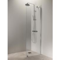 Suihkuseinä Vihtan Puro 6, 400 mm, kirkas lasi, kiiltävä alumiini, Verkkokaupan poistotuote
