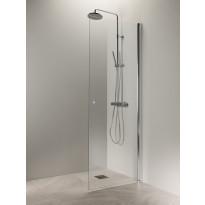 Suihkuovi Vihtan Puro 3, 400mm, kirkas lasi, kiiltävä alumiini, nuppivedin, Verkkokaupan poistotuote