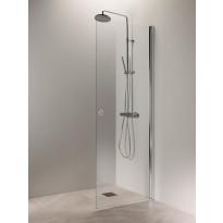 Suihkuovi Vihtan Puro 3, 600mm, kirkas lasi, kiiltävä alumiini, rengasvedin, Verkkokaupan poistotuote