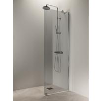 Suihkuseinä Vihtan Puro 6, 700 mm, harmaa lasi, kiiltävä alumiini, Verkkokaupan poistotuote