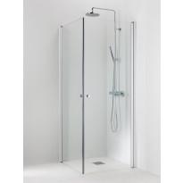 Suihkukulma Vihtan Pisara 3+3, 700/800mm, kääntyvä, suora kirkas lasi, Verkkokaupan poistotuote