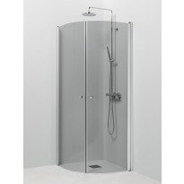 Suihkukulma Vihtan Pisara 4+4, 800/800mm, kääntyvä, kaareva harmaa lasi