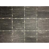 Lattialaatta Bien Alpstone Black, himmeä, verkolla, 100x100mm