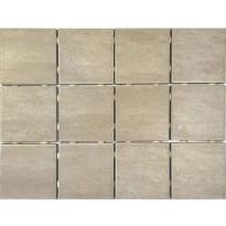 Lattialaatta Bien Alpstone Almond, himmeä, verkolla, 100x100mm