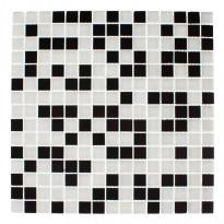 Lasimosaiikki Mix, 32,7x32,7, seinä-/lattialaatta, musta/valkoinen