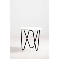 Lepakkopöytä Varax, Ø55cm, musta/valkoinen