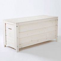 Säilytysarkku Varax, 46x117x58cm, valkolakattu, Verkkokaupan poistotuote