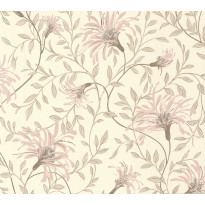 Tapetti 1838 Wallcoverings Fairhaven, beige/vaaleanpunainen, 0,52x10,05m