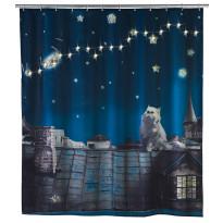 Tekstiilisuihkuverho Moon Cat LED