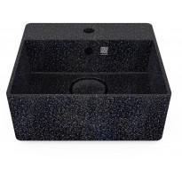 Pesuallas Woodio Cube40 Char, 400x400mm, hanareikä, musta, Verkkokaupan poistotuote