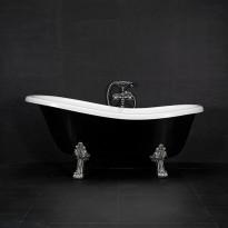 Kylpyamme Westerbergs Victoria 1570, 215l, musta/valkoinen, kromiset jalat