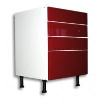 Keittiön laatikosto 710x400x560mm,  1 korkea ja 3 matala etusarja, eri etusarjavaihtoehtoja