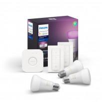 Aloituspakkaus Philips Hue WCA, 3 kpl älylamppu (E27, 9W) + silta + 2 kpl himmennin
