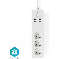 Älykäs jatkopistorasia Nedis Wi-Fi WIFIP311FWT, 1.8m, 3-osainen + 4xUSB