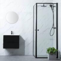 Suihkunurkka Bathlife Profil, 700-1000mm, kaksi ovea, musta, eri kokoja