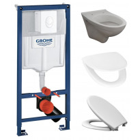 Seinä-WC-paketti Bathlife, Rapid-asennusteline, kansi ja huuhtelupainike, valkoinen