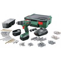 Akkuporakone Bosch PSR 1800 LI-2, Systembox + 241 tarviketta, 2x1.5Ah akuilla, Verkkokaupan poistotuote