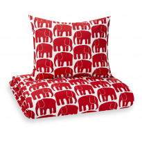 Lasten pussilakanasetti Elefantti, punainen, 120x160