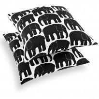 Koristetyynynpäällinen Elefantti, musta, 48x48