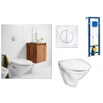 Seinä WC-istuinpaketti Nautic 5530, täydellinen toimitus, krominen huuhtelupainike