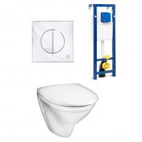 Seinä WC-istuinpaketti Nautic 5530 Soft close -kannella, täydellinen toimitus, krominen huuhtelupainike