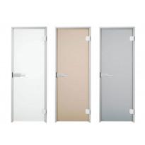 Lasiväliovi / kostean tilan ovi Deluxe, mattalasi, 900x2100 mm, harmaa, oikea, alumiini, Verkkokaupan poistotuote