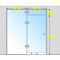 Saunan lasiseinä, ovi, lisäpala ja  korkea ikkuna, saranat keskellä