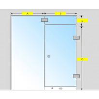 Saunan lasiseinä, ovi, lisäpala ja  korkea ikkuna, saranat sivulla