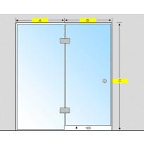 Saunan lasiseinä, ovi ja korkea ikkuna, saranat keskellä
