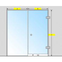 Saunan lasiseinä, ovi ja korkea ikkuna, saranat sivulla