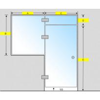 Saunan lasiseinä, ovi, lisäpala ja ikkuna, saranat keskellä