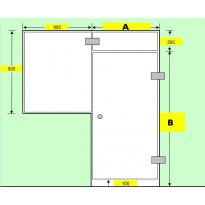 Saunan lasiseinä, ovi, lisäpala ja ikkuna 90x90cm, saranat sivulla