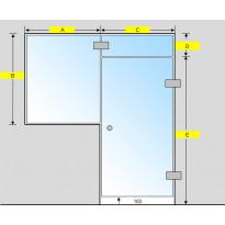 Saunan lasiseinä, ovi, lisäpala ja ikkuna, saranat sivulla