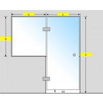 Saunan lasiseinä, ovi ja ikkuna, saranat keskellä