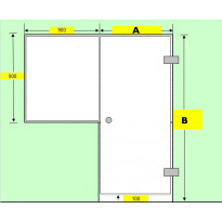 Saunan lasiseinä, ovi ja ikkuna 90x90cm, saranat sivulla, oviaukon koko 7x19, Verkkokaupan poistotuote