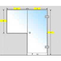 Saunan lasiseinä, ovi ja ikkuna, saranat sivulla