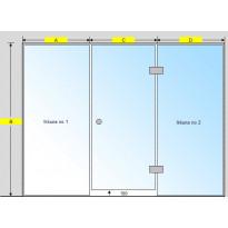 Saunan lasiseinä, ovi ja kaksi korkeaa ikkunaa