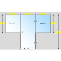 Saunan lasiseinä, ovi ja kaksi ikkunaa
