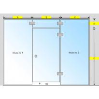 Saunan lasiseinä, ovi, lisäpala ja kaksi korkeaa ikkunaa