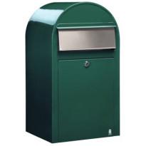 Postilaatikko Grande, 60x32x27cm, vihreä RAL 6005, rst-luukku, kampanjatarjouksena nimikyltti kaupan päälle!