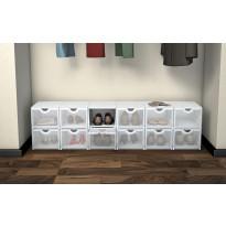 Plus Box laatikko 402621-970-000, valkoinen runko/läpinäkyvä ovi