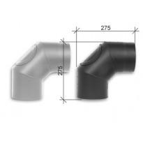 Savuhormi, kulma 90°, ∅130, nuohousluukku, hitsattu, musta/harmaa